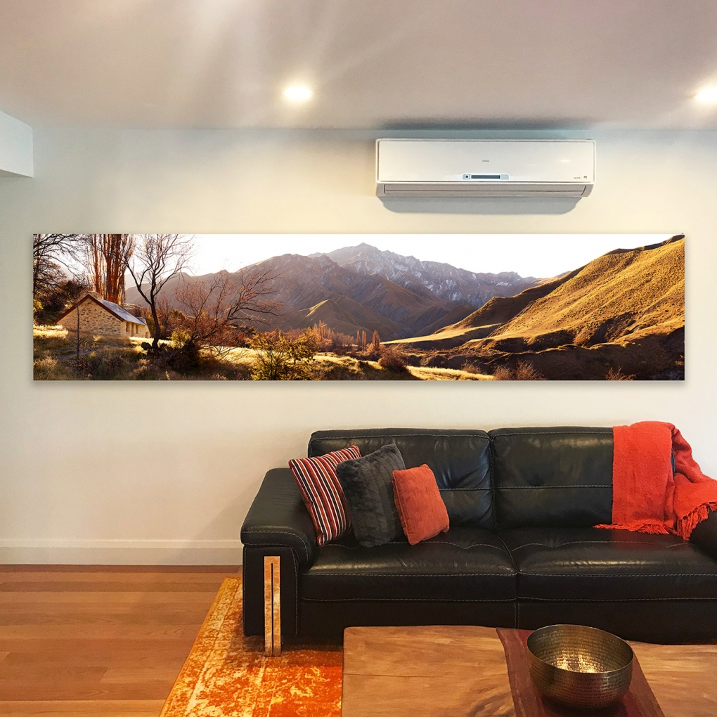 "I superimposed a series of images for my clients, who chose ""Valley Of Gold"" as a stretched canvas, 798mm x 3550mm."