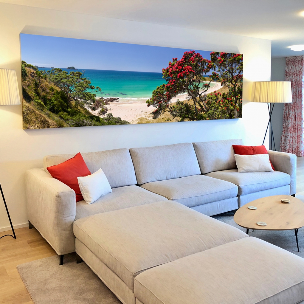 """Slice Of Heaven"" stretched canvas 1000mm x 3320mm which I installed on site for my clients in Zurich, Switzerland."