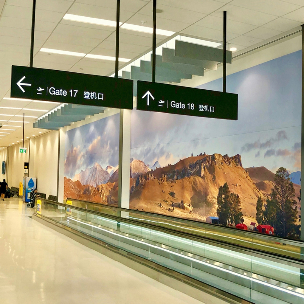 """King Of The Castle"" 4m x 19m wide on textured fabric, Gate 17 departures, Auckland International Airport."