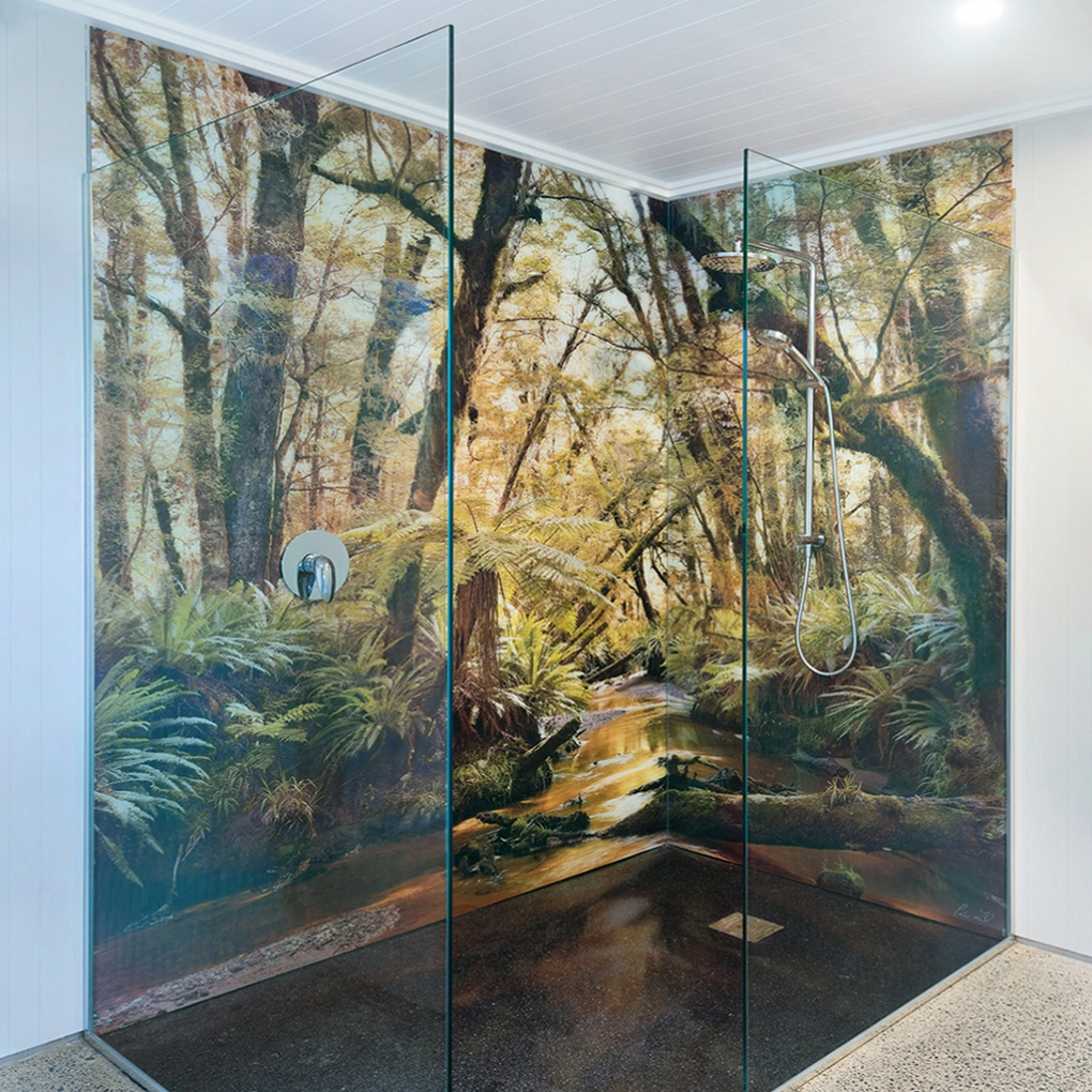 """Solitude"" shower, printed onto low-iron glass 2.4m high. Wow!"